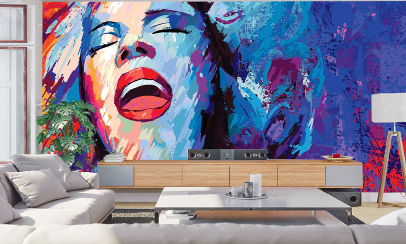 Soul Singer On Grunge Abstract Background wall mural