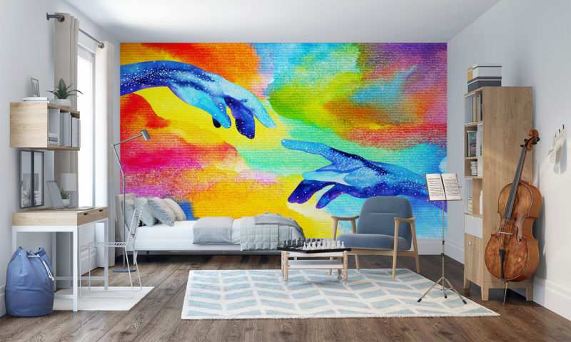 Two Hands Reaching Out Wall Mural