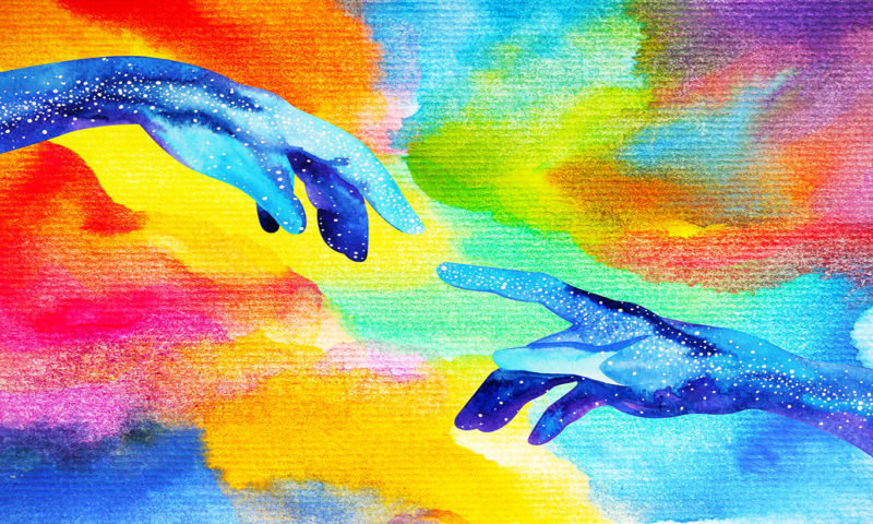 Two Hands Reaching Out Wallpaper Mural