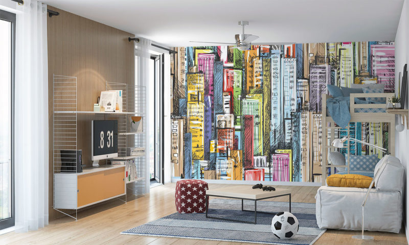 Colourful Cityscape Wall Mural