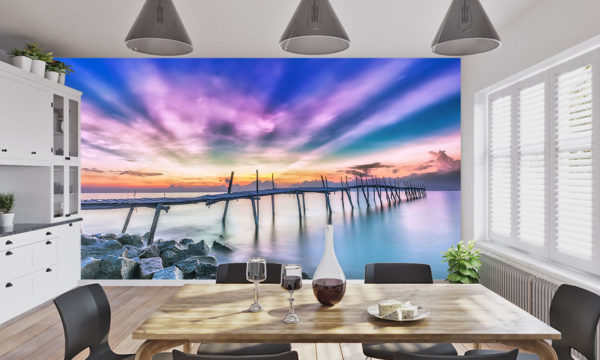 Pink Rays Of Light Over A Wooden Bridge At Sunrise Wallpaper Mural