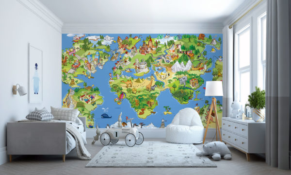 An Early Learning Childrens Map Of The World Mural Wallpaper