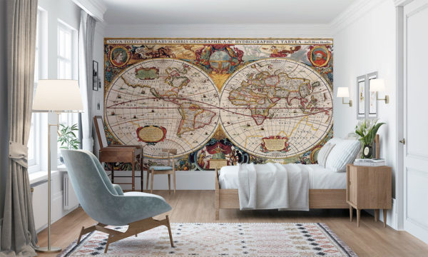 Beautiful Historic Map Of The World Mural Wallpaper