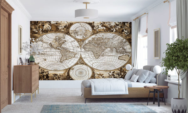 Old Map Of The World Mural Wallpaper