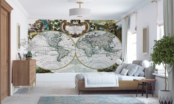 Old Map Of The World Mural Wall Art