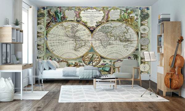 Map Of The World From 1755 Wallpaper Mural