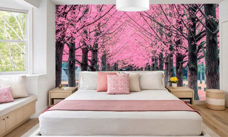 Pink Apple Blossom Forest Wall Mural