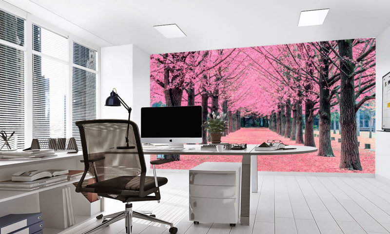 Pink Apple Blossom Fores Mural
