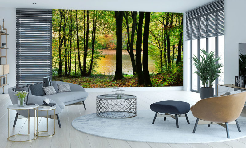 Moody Green Forest and Lake Mural