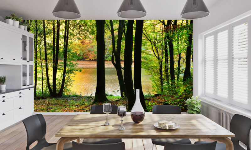 Moody Green Forest and Lake Wall Mural