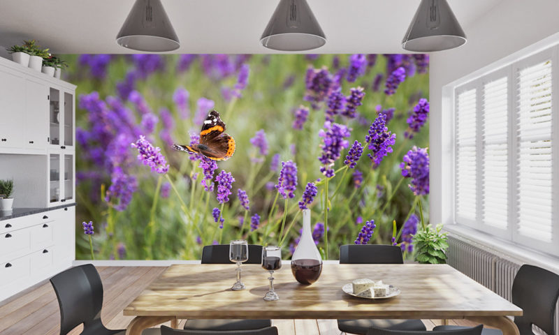 Pretty Butterfly And Lavender Wallpaper Mural