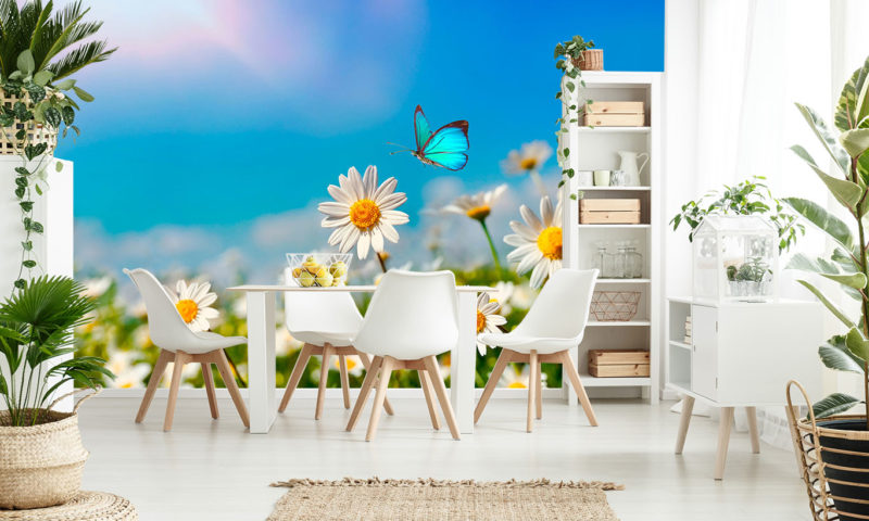 Wild Flowers and Butterfly Mural Art