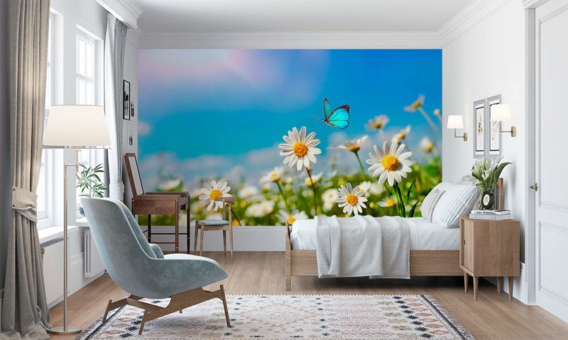 Wild Flowers and Butterfly wallpaper