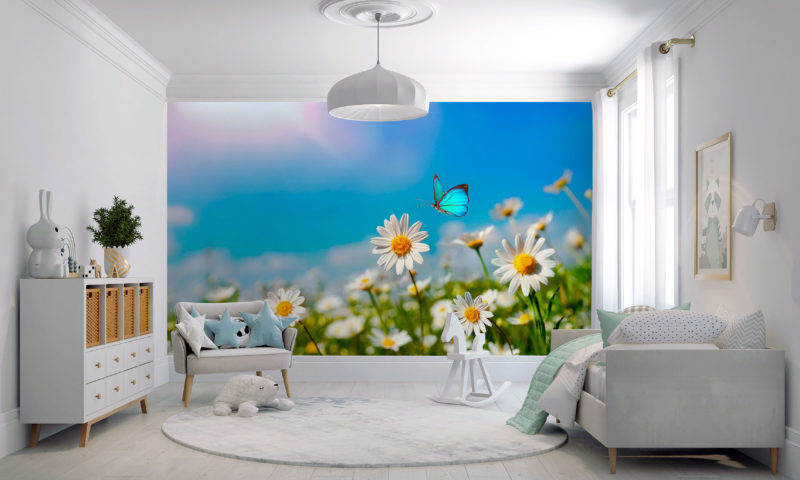 Wild Flowers and Butterfly wall art