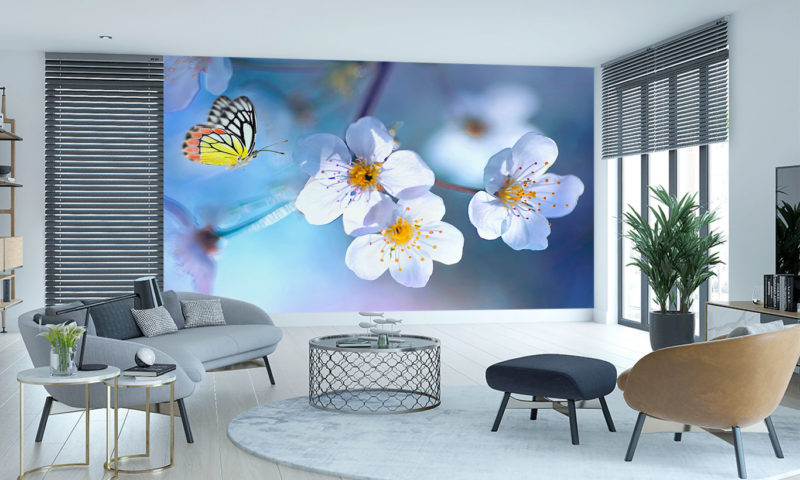 Delicate Butterfly and Flowers Mural