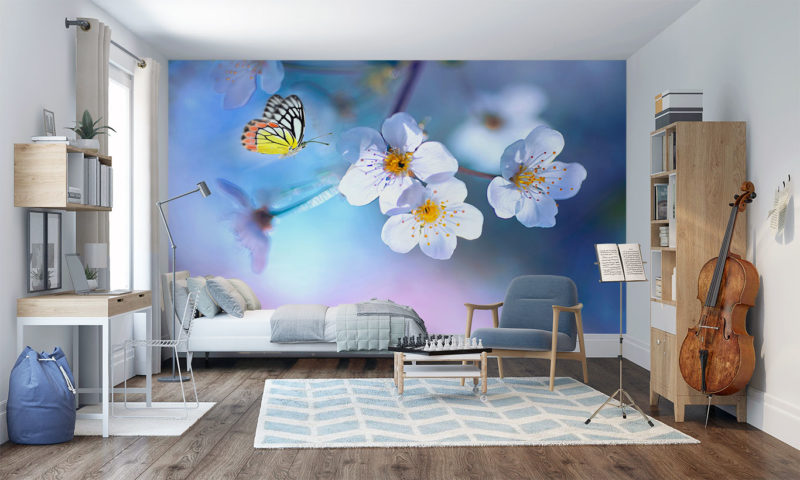 Delicate Butterfly and Flowers Wall Art