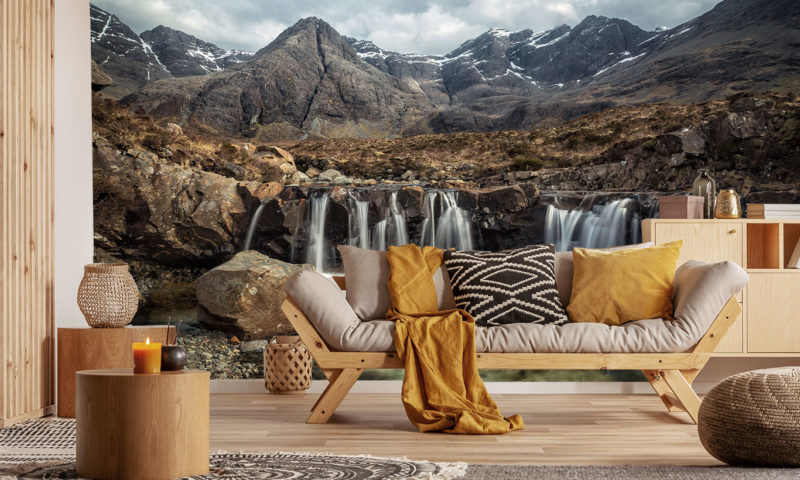 Fairy Pools Waterfall & Mountains Of Black Cuillin Wall Mural Art