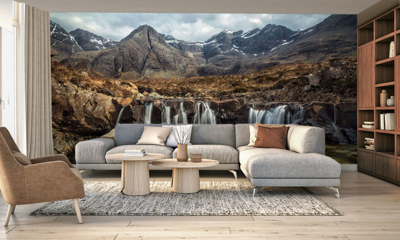 Fairy Pools Waterfall & Mountains Of Black Cuillin Wallpaper