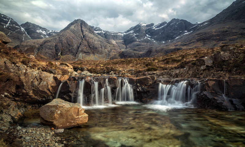 Fairy Pools Waterfall & Mountains Of Black Cuillin Wall Mural