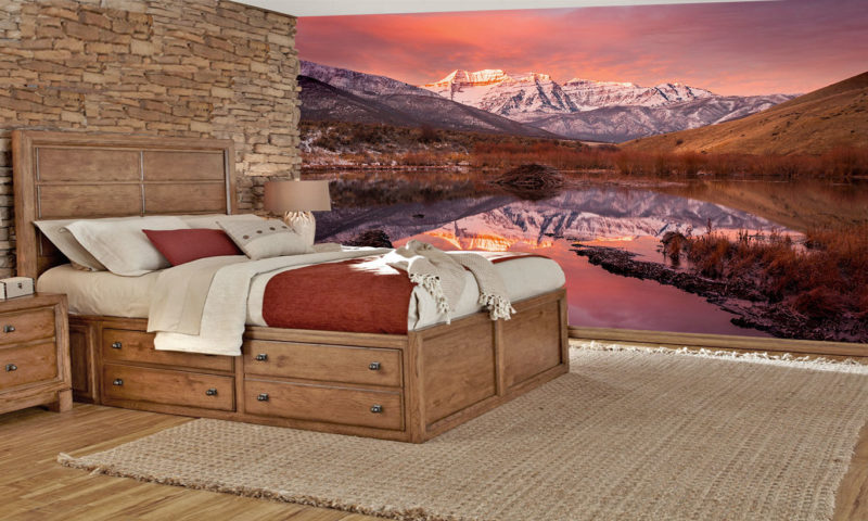 Sunrise over Mountains and Lakes Mural wallpaper