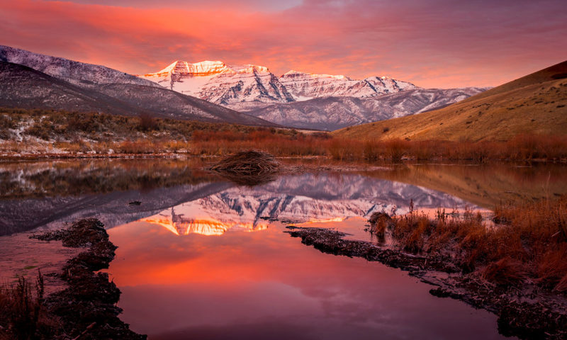 Sunrise over Mountains and Lakes Wallpaper Mural