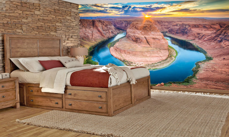 Sunset On The Canyon Wall Mural Art