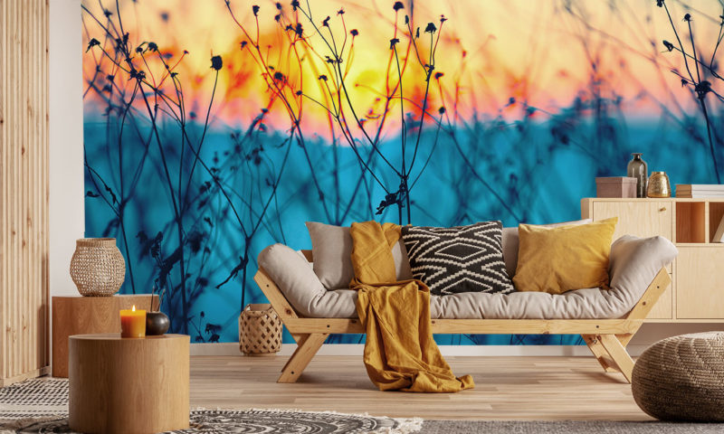 Abstract Wild Flowers Wallpaper Mural