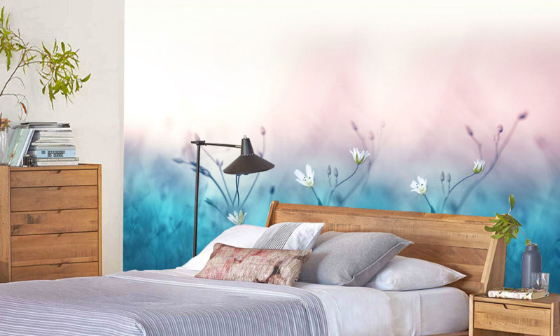 Wild White Flowers Abstract Wallpaper Mural