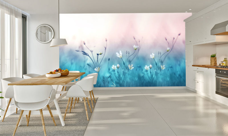 Wild White Flowers Abstract Wall Art