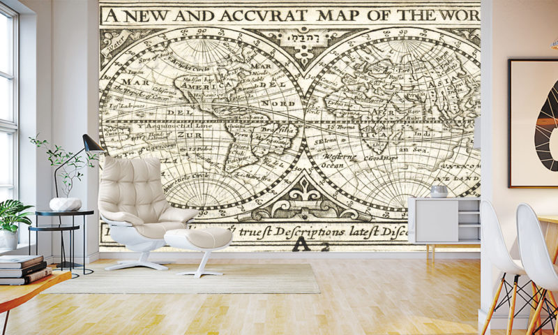 Map of the World circa 1635 Wall Mural