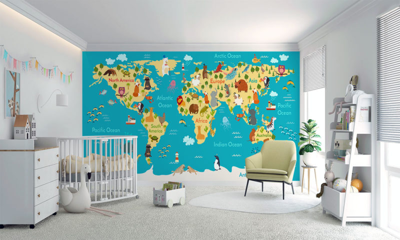 Kids Map of the World Wall Mural