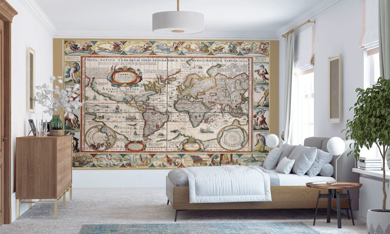 Antique Map of the World Mural Wallpaper