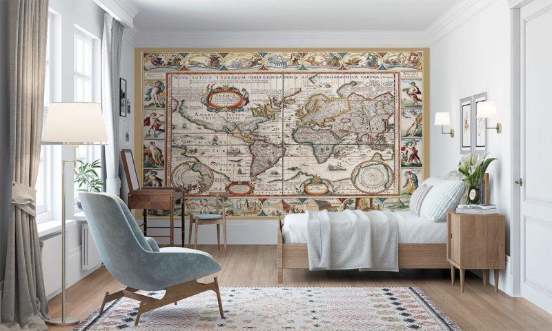Antique Map of the World Wall Mural