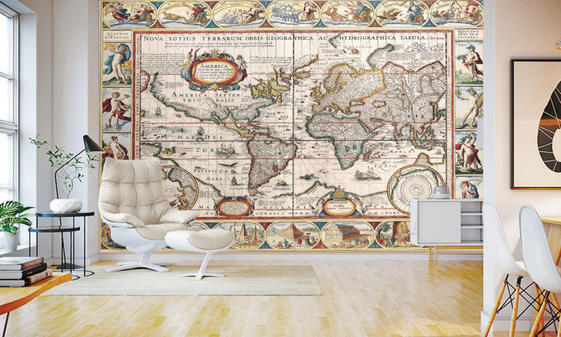Antique Map of the World Wall Art