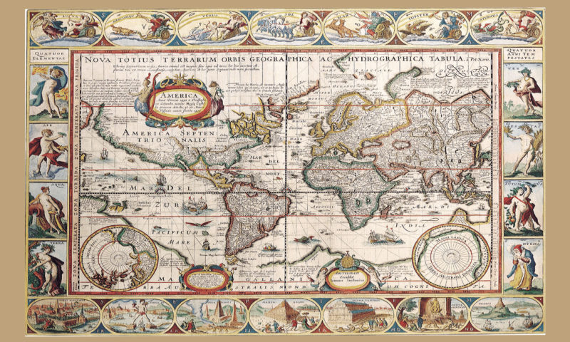 Antique Map of the World Wallpaper Mural