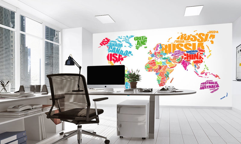 Typography Concept Map of the World Mural Wallpaper