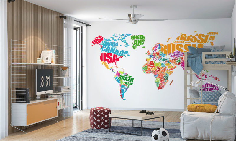 Typography Concept Map of the World Mural