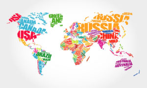 Typography Concept Map of the World Wallpaper Mural