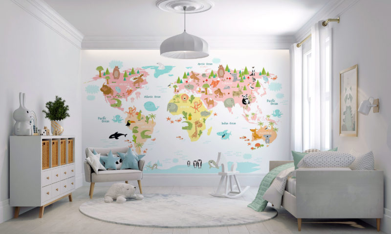 Animals of the World Map Mural Wallpaper