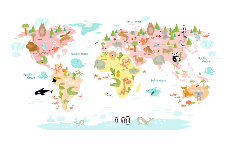 Animals of the World Map Wallpaper Mural