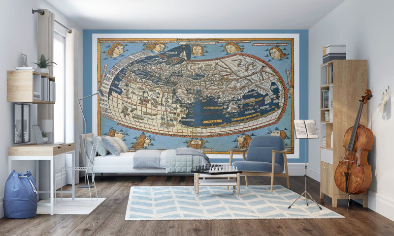 Century Map Engraved 1492 Wall Mural
