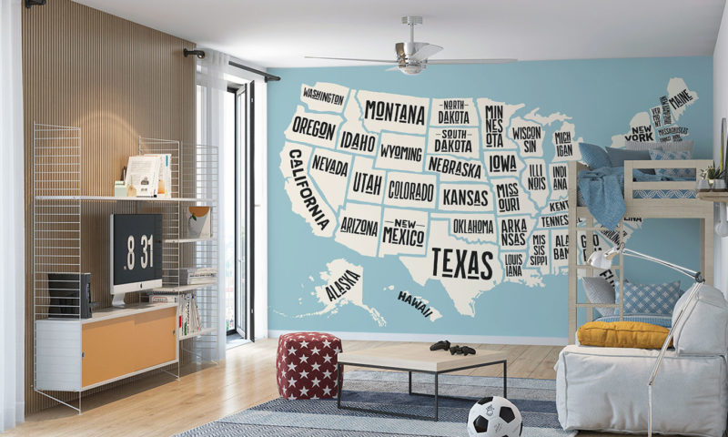 State Names Map of USA Mural Wallpaper