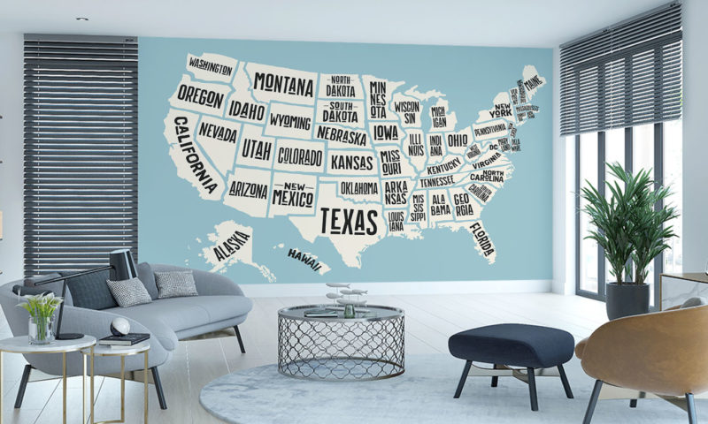 State Names Map of USA Wall Art