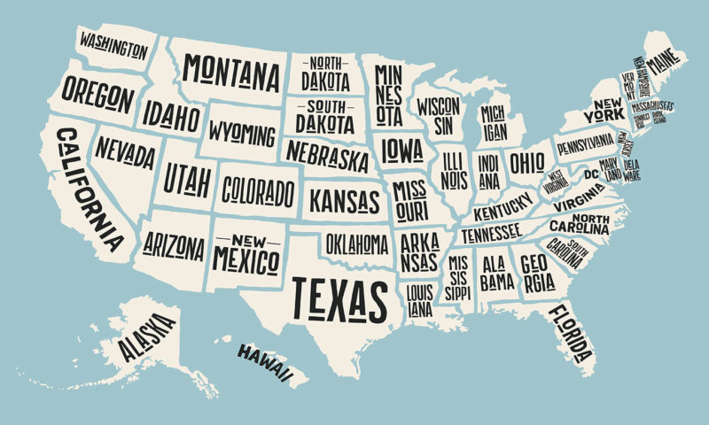 State Names Map of USA Wallpaper Mural
