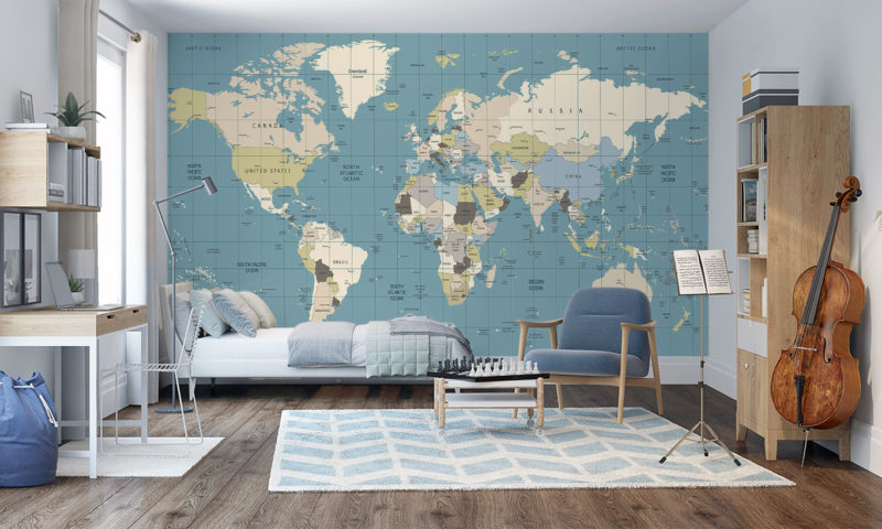 Coloured Old World Map Wall Mural