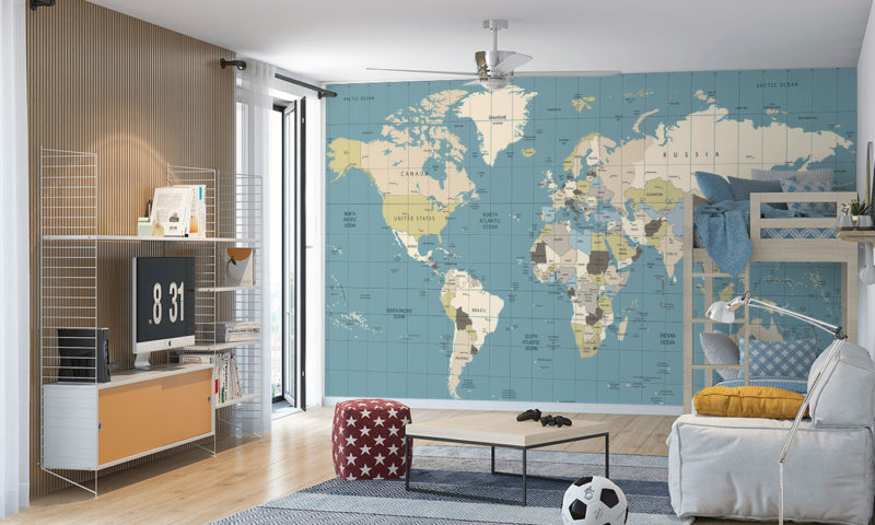 Coloured Old World Map Wallpaper