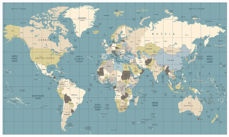 Coloured Old World Map Wallpaper Mural