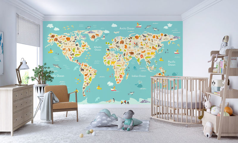 Animated Children's Map Wall Mural