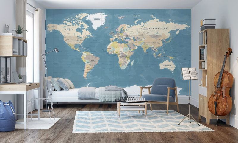 Highly Detailed Vintage Style World Map Mural Wallpaper