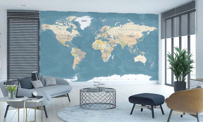 Highly Detailed Vintage Style World Map Wall Art